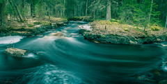 Pihlajakankaantie's rapid on April night (LuonnonKuvaaja) Tags: trees panorama cold ice nature water night creek forest finland river spring rocks bend april rapid raahe pattijoki ylip lasikangas pihlajakankaantie