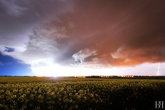 nergie Positive (NeoNature) Tags: sky storm france nature field weather night clouds canon landscape horizon champs ciel strike normandie positive lightning convection nuages paysage normandy nuit orage meteorology coup colza mtorologie positif stormscape foudre
