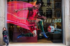 Seguici (amira_a) Tags: street rome roma shop store strada italia fuji streetphotography nike fujifilm shopwindow vetrina ronaldo x100 seguici x100s