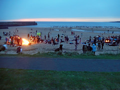 May Dip, 2016 -- photo 1 (Dunnock_D) Tags: uk sea sky cloud green beach swimming sunrise fire scotland pier sand cloudy unitedkingdom fife britain path crowd bonfire northsea standrews wading breakwater grasss eastsands maydip