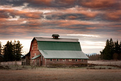 Whatcom County Barn (EdBob) Tags: barn sunrise classic vintage old antique farm farmland colorful dramatic sky clouds red farming dawn whatcomcounty washington washingtonstate westernwashington agriculture pacificnorthwest pugetsound bellingham trees pasture edmundlowephotography edmundlowe allmyphotographsare©copyrightedandallrightsreservednoneofthesephotosmaybereproducedandorusedinanyformofpublicationprintortheinternetwithoutmywrittenpermission building architecture usa america rural country countryside wwwedmundlowephotocom