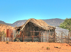 Old Thatched Roof Shed (Zonifer Lloyd) Tags: landscape hdr quorn thatchroof oldruins southaustraliaaustralia