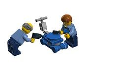 Assembling a Lawn Mower (RS 1990) Tags: lego lawnmower vignette assembly moc ldd digitaldesigner