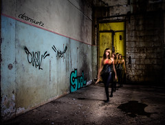 Time Warp - DSC5679 ilce (cleansurf2 - Portrait portfolio) Tags: portrait people urban woman black hot laura color colour sexy texture abandoned girl beautiful dark movie soldier costume cool scary model industrial alone cosplay decay steel character sony apocalypse young vivid soul worn scifi warrior cinematography depth apocalyptic deadly armed urbex edgy ilce a7ii a7m vintige modelmayhem emount ilce7m2