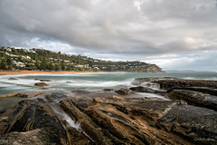 Watch the slow flow (JustAddVignette) Tags: ocean longexposure sea sky seascape motion beach water clouds landscape landscapes early rocks sydney australia spray newsouthwales rockpool northernbeaches seawater whalebeach