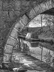 Bridge B&W (tubblesnap) Tags: bridge bw white black detail monochrome liverpool canal high fuji dynamic leeds tunnel lancashire textures range barge hdr detailed colne tonemapped xs1