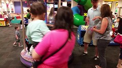 Girls On The Mini-Carousel (Joe Shlabotnik) Tags: cameraphone video lily violet carousel madeleine merrygoround chuckecheeses sarahp 2015 bliksem june2015 galaxys5