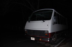 The Van (grayit) Tags: road street trees roof red sky white black color tree nature grass car wheel night dark outside outdoors parkinglot automobile wheels ground line licenseplate nighttime bumper hood vans inside van