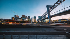 Barcode (pauses) Tags: travel bridge winter sunset oslo norway architecture night evening 3d europe no illuminated barcode scandinavia truss norske 2016 buildingexterior barcodeproject
