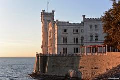 Castello di Miramare (boisderose) Tags: sunset sea castle tramonto mare february castello trieste miramare febbraio 2016 golfoditrieste boisderose parcodelcastellodimiramare