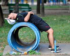Back cracker (jeremyhughes) Tags: park blue man public circle back nikon exercise bangkok stretch d750 nikkor athlete fitness stretching kappa apparatus cracking lumpini lumpinipark