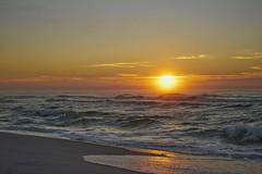 Sunrise At The Beach (Stuart Schaefer Photography) Tags: sea sky seascape beach water skyline clouds sunrise landscape outdoors coast seaside surf florida outdoor shoreline wave shore cloudscape pensacolabeach sunburt sonyalpha sonya7rm2