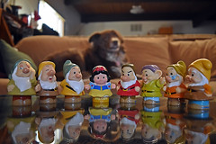 Shizandra, Snow White & The Seven Dwarfs (Jo- Brilliant Sun and Mid 60's Today!) Tags: dog fairytale toys couch colourful ddc 1563 inthelivingroom snowwhitethesevendwarfs
