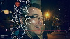 D and the planets and the stars and the scorpion and the guy at the bus stop (Melissa Maples) Tags: cameraphone man david black apple night turkey asia trkiye overlay busstop scorpio antalya planets zodiac skyview iphone  iphone6