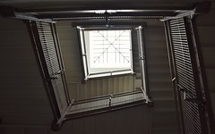 artist ascending a staircase (marensr) Tags: school detail architecture skylight staircase banister trumbull