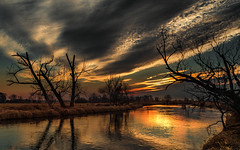 Dead tree's complaint v.2 (piotrekfil) Tags: sunset sky cloud sun sunlight tree nature water reflections river landscape twilight pentax dusk poland waterscape piotrfil