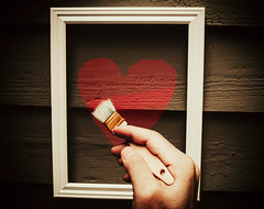 Let Me Show You My Love (Kenny Dong) Tags: red love painting hands paint hand heart outdoor finger fingers picture craft brush frame fujifilm draw x10 outdoorphotography