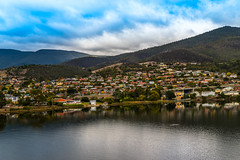 MONA (Dara Meybodi) Tags: ocean blue trees houses sky cloud house mountain lake reflection green nature water clouds buildings outdoors town colorful village view australia mona lookout hills tasmania tassie