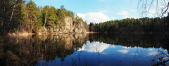 Mirror Lake (Jens Haggren) Tags: trees light sky panorama water clouds reflections mirror sweden pano olympus em1 nacka forestlake