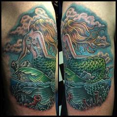 Mermaid cover up #mermaidtattoo #nauticaltattoo #poochtattoo @fusionink_ca @neotatmachines #vivace @dankubin #sidecranker