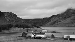 some live at cross roads others at cross fjords ;) (lunaryuna) Tags: bw panorama mountains monochrome norway landscape blackwhite solitude farm fjord lunaryuna lowclouds lofotenislands seastrait weathermood lofotenwall lofotenarchipelago