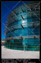 Office buildings (__Viledevil__) Tags: life city blue sky urban espaa cloud color reflection building window glass colors metal architecture modern facade silver outdoors office europe downtown day exterior turquoise district steel scene structure architectural business styles cdiz financial built feature descriptive