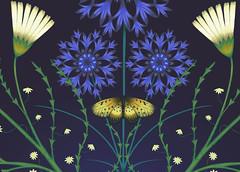butterflydetail (Su Owen) Tags: illustration daisies butterflies cornflowers textiledesign surfacepatterndesign