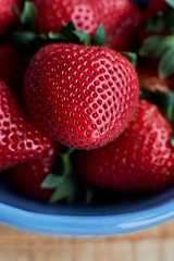 DSCF6883 (algimblett) Tags: wood light red food macro natural strawberries fresh