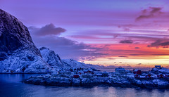 Sunset - Lofoten, Norway (The Voyageur) Tags: winter sunset snow mountains colors norway montagne sunrise norge nikon hiver north neige lofoten artic nord norvge nikonpassion nikond750