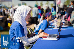 Islamic Relief USA volunteer registers people in New Jersey for the annual Walk for Water.