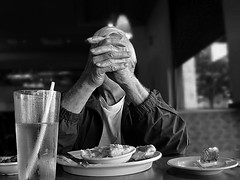 Diner {105/366} (therealjoeo) Tags: street portrait blackandwhite glass austin restaurant hands texas fingers diner 365 366 365project