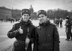 Military Brass Band Practice in Palace Square - St Petersburg, Russia (phlorgan) Tags: travel bw saint st stpetersburg asia europe russia military band petersburg palace hermitage russian brass brassband bandpractice palacesquare victoryday may9th