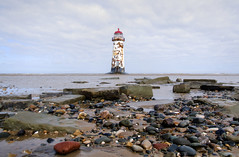 Point of Ayr Lighthouse (Tony Shertila) Tags: sea lighthouse building tower weather wales architecture clouds river geotagged coast europe day cloudy unitedkingdom britain outdoor dunes estuary shore dee flintshire talacre irishsea gbr gronant pointofayre pointofayr llanasacommunity geo:lat=5335641719 geo:lon=332194805