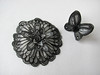 A set of silk flower brooch and silk butterfly ring (simutes) Tags: black flower set butterfly grey brooch silk jewelry ring silkpainting blackbutterfly blackflower greyflower greybutterfly blackbrooch silkflowerbrooch