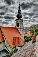 ber den Dchern von Stein/Krems an der Donau (Der Kremser) Tags: city roof church austria sterreich europa europe heaven walk kirche eu himmel roofs casio stadt april stein blick danube niedersterreich hdr overview krems spaziergang donau 2016 dcher loweraustria donaustdte