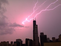 Lightning Over Chicago (iPhone 5) ((Jessica)) Tags: chicago storm weather night downtown bolt strike lightning photostream pw iphone iphone5 willistower ilightningcam