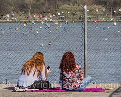 Love Locks Pier on the Hudson River, Edgewater, New Jersey (jag9889) Tags: people woman usa water river pier newjersey unitedstates outdoor unitedstatesofamerica nj hudsonriver edgewater waterway gardenstate lovelock 2016 bergencounty 07020 zip07020 jag9889 20160421
