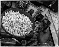 2016.01.09  Day 009 (HTRM2) Tags: blackandwhite bw selfportrait man black male apple glass dreadlocks self silver table goatee photo bottle hand cider bowl monochromatic flute popcorn frame africanamerican wrist aged bangle grayscale middle ios spectacles sparkling app 40s greyscale iphone 2016 htrmiller2 snapseed iphone5s