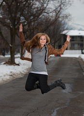 Just in time for the weekend (Flickr_Rick) Tags: winter woman snow cold girl outside jump jumping breanne jumpology