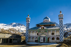 The Coldest Mosque on Earth,  Masjid e Jafria, Drass, Kashmir, India (Anoop Negi) Tags: world travel blue sky india architecture photography town photo highway worship muslim mosque kashmir anoop minarets jammu negi coldest moslem drass ezee123 dras masjidejafria