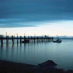 Old fishing pier (-Alberto_) Tags: longexposure seascape abandoned mediumformat 120film hasselblad500cm kodakektar