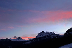 Dolomiti Sunset (giovannispina31) Tags: pink blue winter sunset sky snow mountains ice clouds landscape see twilight italia tramonto nuvole rosa unesco cielo inverno colori montagna dolomiti sera crepuscolo mountainscape