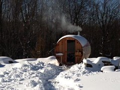 sauna barril exterior nieve