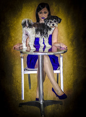 Woman in blue with dog (PKub) Tags: dog pet pets dogs colors animal animals fur table photography tiere photo clothing chair nikon dress image picture objects oskar hund shooting dominique names stool bild tisch articles fell haustier stuhl tier farben haustiere kleidung womensclothing namen kleid 2015 gegenstaende frauenkleidung pkub pkubimages pkubimagesgmailcom