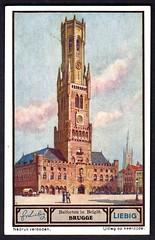 Liebig Tradecard S1330 - Brugge (Bruges) (cigcardpix) Tags: church bells vintage advertising belgium ephemera liebig tradecards