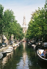 september // amsterdam (Tori Taylor) Tags: blue trees summer sky holland color colour reflection tower film netherlands beautiful amsterdam canon reflections river boats photography boat canal focus europe raw canals september iso 200 manual lovely unedited noord westerkerk 2015 amsterdam2 t50