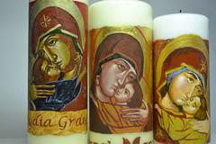 DSC_0874 (Mike Quirke Icon Art) Tags: candle icon virginmary motherandchild baptismalcandle motherofmercy virginoftenderness eleusaicon