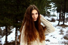"""Sophie"" (Mariam Kimeridze) Tags: people white snow cute girl forest hair sweater woods long alone outdoor longhair denim jacet"