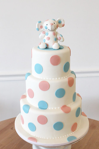 Pink and Blue polka dot elephant cake