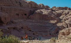 Amphitheater in Petra (Lena and Igor) Tags: street city blue red sky people sunshine landscape ancient nikon rocks asia traffic crowd petra scenic jordan amphitheater 1855 nikkor d40x